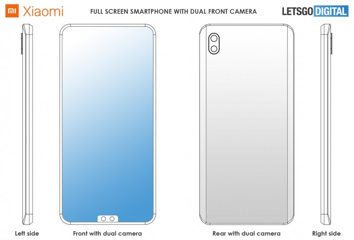Xiaomi patents a notched phone with dual selfie camera on the bottom