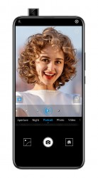 The 16MP selfie pop-up camera uses AI to enhance portraits