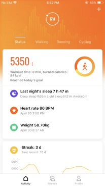 The new card-based UI of the Mi Fit 4.0 app