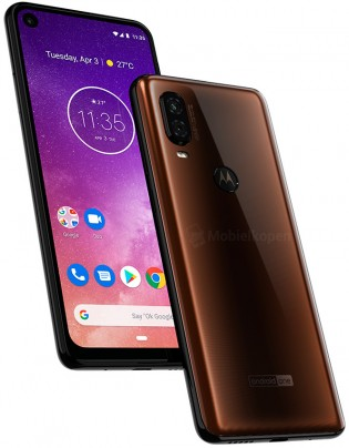 Motorola One Vision in brown and blue