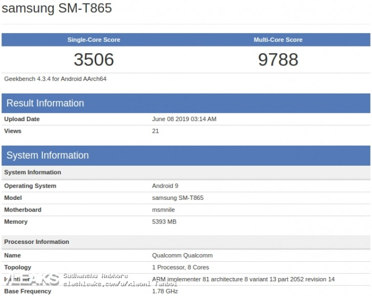 Flagship Samsung tablet spotted on GeekBench. Likely the Tab S5