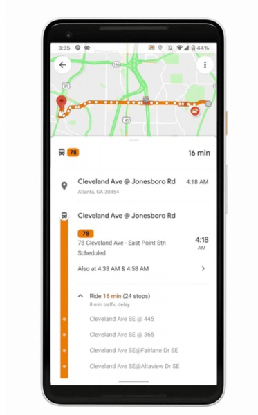 Google Maps updated with slew of new public transit features