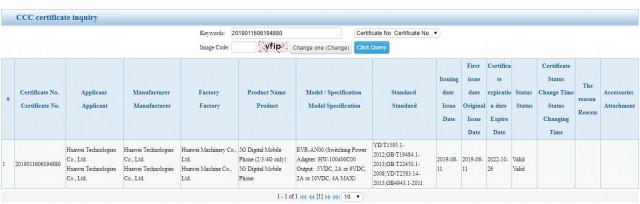 Huawei Mate 20X (5G) certification
