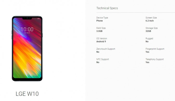 LG W10 specs leak through Android Enterprise listing - GSMArena com news