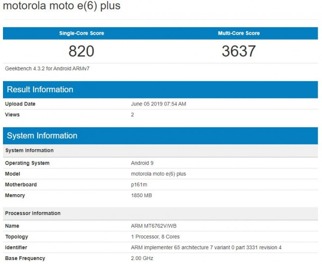 Moto E6 Plus will be powered by Helio P22 according to Geekbench
