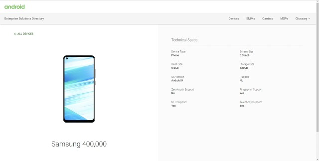 Samsung Galaxy M40 listing on Android Enterprise