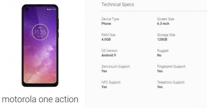 Mototola One Action specs confirmed through Android Enterprise listing