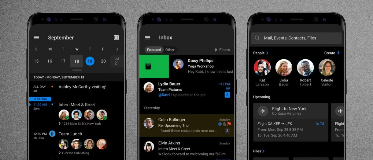 Image result for Dark mode for Outlook mobile app