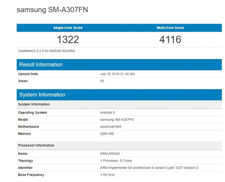 Another Samsung Galaxy A30 hits up Geekbench