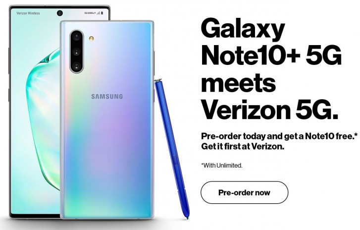 Samsung Galaxy Note10+ 5G leaks in Verizon press render