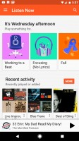 Play Music homescreen - Google Pixel XL review