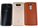 LG G5 flanked by the Galaxy S7 and the LG G4 - LG G5 review
