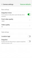Camera settings - Nubia Z11 review