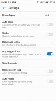 Layout settings - Honor 9 review