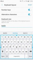 Samsung keyboard: Resizing/secondary symbols - Samsung Galaxy A5 (2017) review