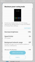 Battery saving modes - Samsung Galaxy J7 Pro review