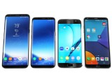 Big one, small one, last year's small one, this year's competitor - all together - Samsung Galaxy S8 review