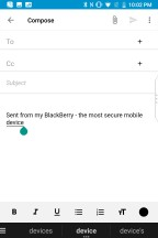 Composing an email - Blackberry KEY2 review