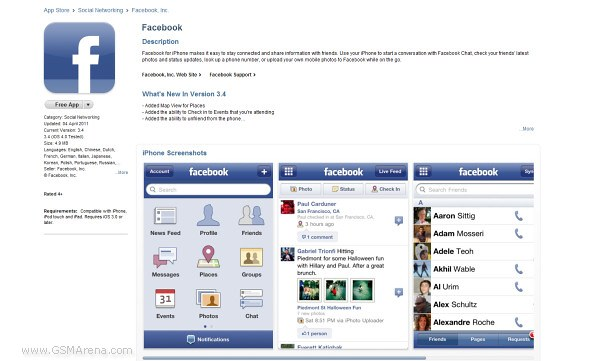 Facebook for iPhone/iPod Touch gets updated – brings map view for