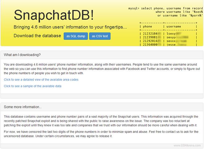 4 6 million North American Snapchat usernames and phone numbers leaked