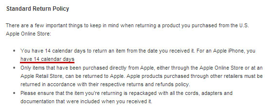 Apple reduces iPhone return period to 14 days