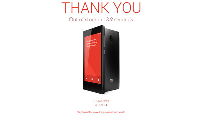 60,000 Xiaomi Redmi 1S phones sell out in 13 9 seconds in latest sale