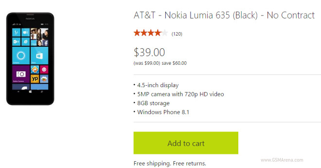 Microsoft now offers the AT&T Nokia Lumia 635 for just $39