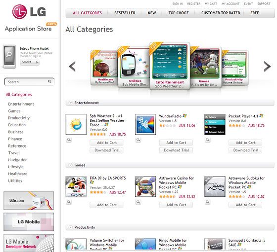 LG application store