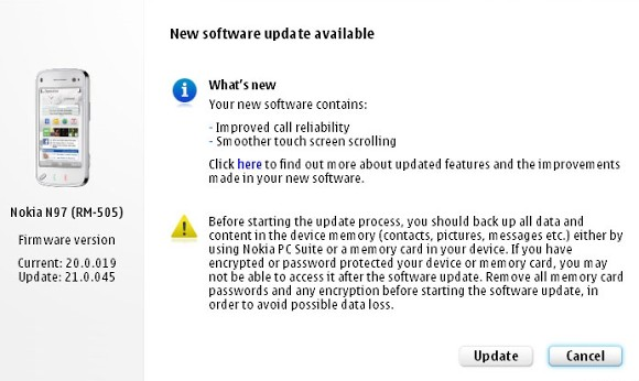 Nokia N97 gets a new firmware update, nothing major though