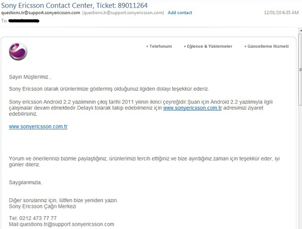 Sony Ericsson XPERIA X10 Froyo