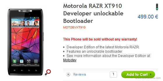 Motorola releases unlocked RAZR Developer Edition - GSMArena