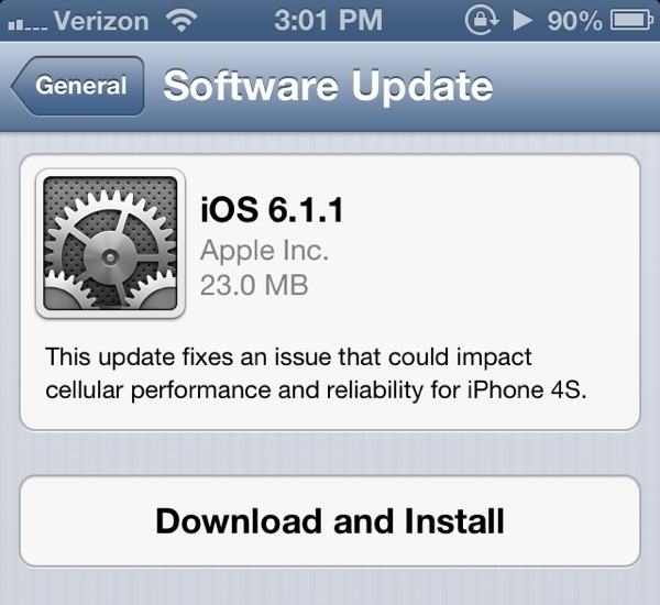 iOS 6.1.1 update released for the iPhone 4S