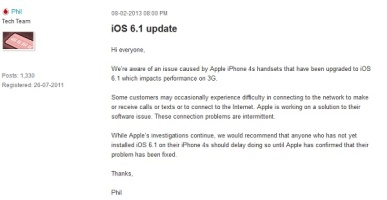 Vodafone suggests its iPhone 4S users do not update to iOS