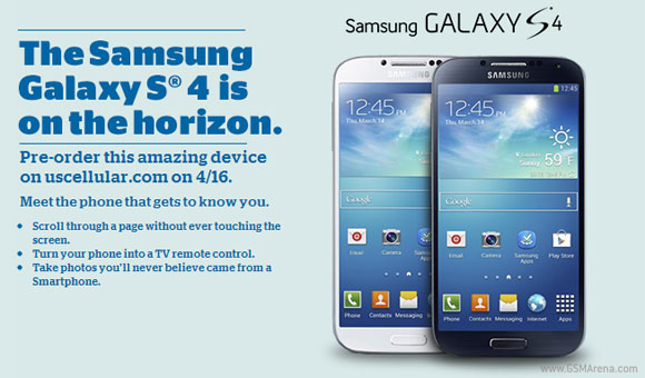 US Cellular and Verizon to also offer the Samsung Galaxy S4