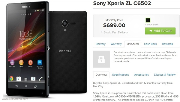 Sony Xperia ZL goes on sale in Oz, priced at $699 ...