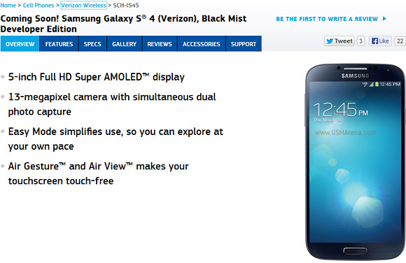 Galaxy S4 Developer Edition for AT&T and Verizon shows up