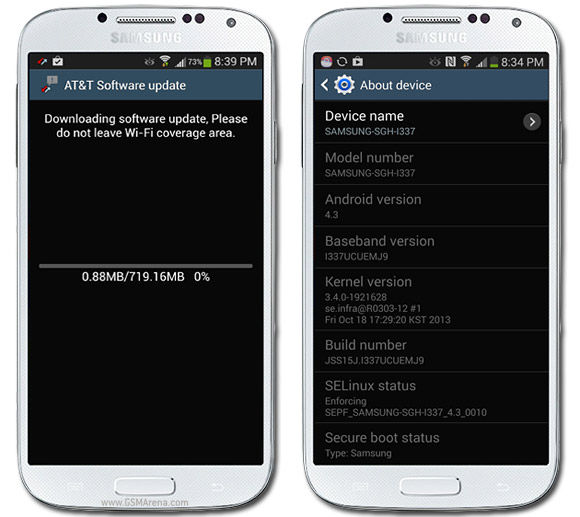 Samsung Galaxy S4 for AT&T receiving Android 4 3 update