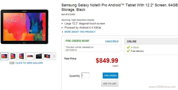 Samsung Galaxy Note Pro 12.2 goes on pre-order in the US ... | Best image of Samsung Galaxy Note Pro 12.2 Buy Online