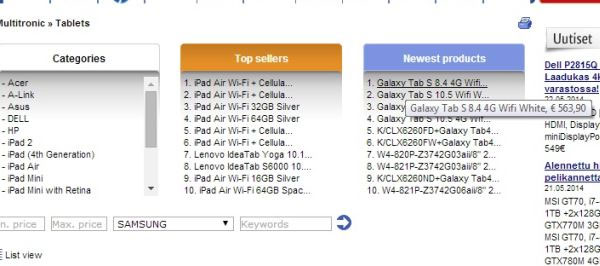 According To The Listing Samsung Galaxy Tab S 10 5 Is Going Retail For 563 90 Compared Pro 1 That About 75 More