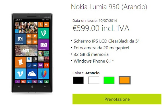 Nokia Lumia 930 goes up for pre-order in Italy