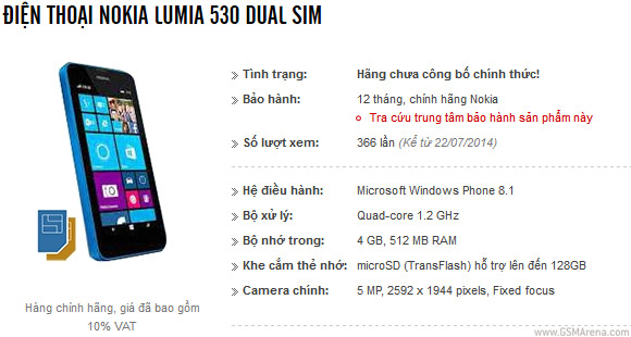 Not-yet-official Nokia Lumia 530 shows up in Vietnam