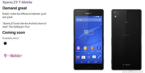 Sony Xperia Z3 For T Mobile Will Be Available Only In Black Color And It Is Listed As Coming Soon Holding A Special New York Press Event Just