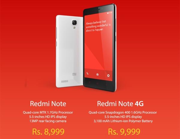 Xiaomi launches Redmi Note and Redmi Note 4G in India