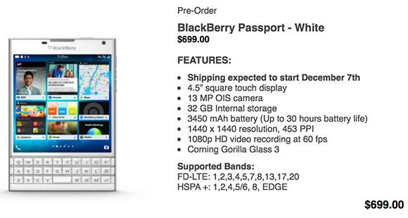 White BlackBerry Passport goes up for pre-order - GSMArena