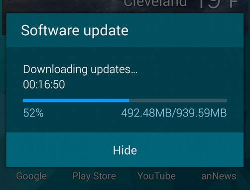 Samsung galaxy s5 now receiving lollipop update on t mobile the update is available over the air and as you can see the download necessary to perform it is over 900mb so it might take a while to finish ccuart Images