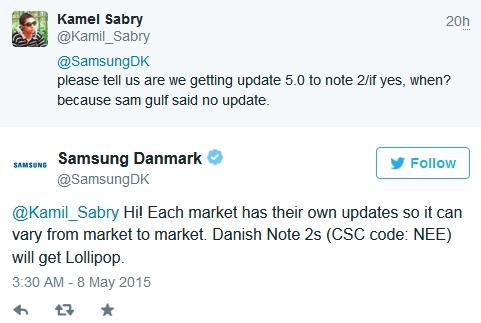 Samsung Denmark confirms Lollipop for Galaxy Note II - GSMArena com news
