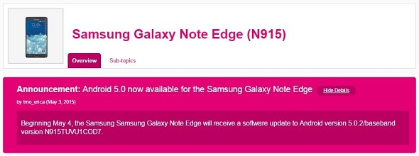 T-Mobile's Samsung Galaxy Note Edge Lollipop update rolling out