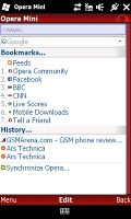 Opera Mini 4.2 on HTC HD2